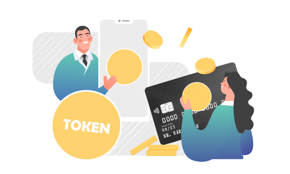 Two people next to a pile of tokens, mobile phone, and a credit card