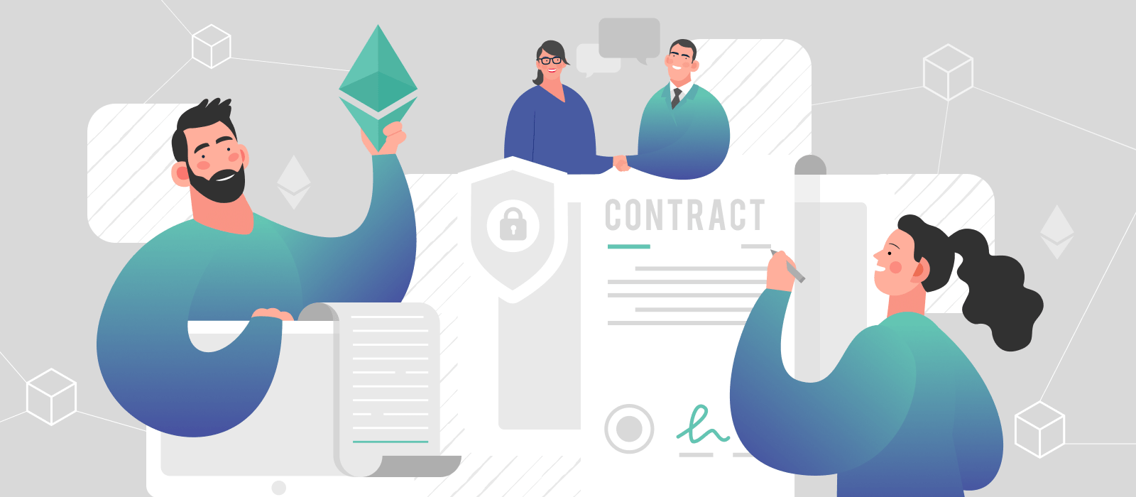 People signing a document based on a smart contract