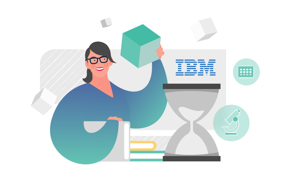 A person holding a block next to the IBM logo and an hourglass