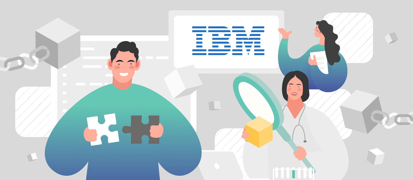 People building IBM Blockchain solutions in a laboratory
