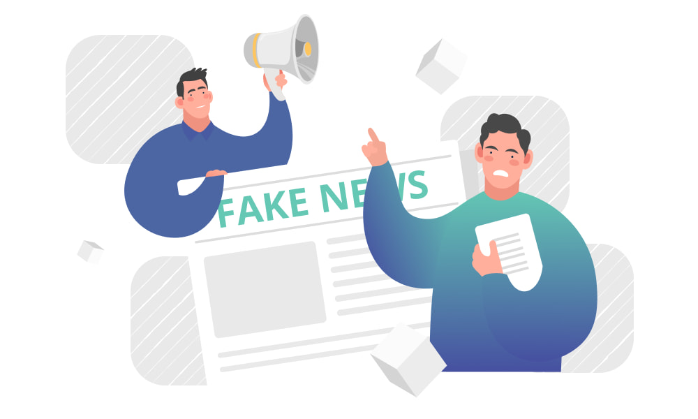People pointing at a newspaper that headlines fake news