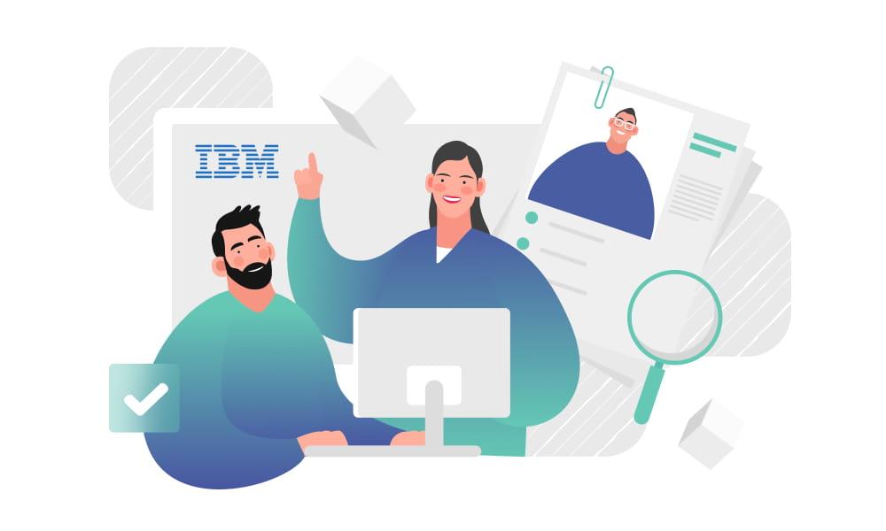 People examining successful cases of IBM Blockchain