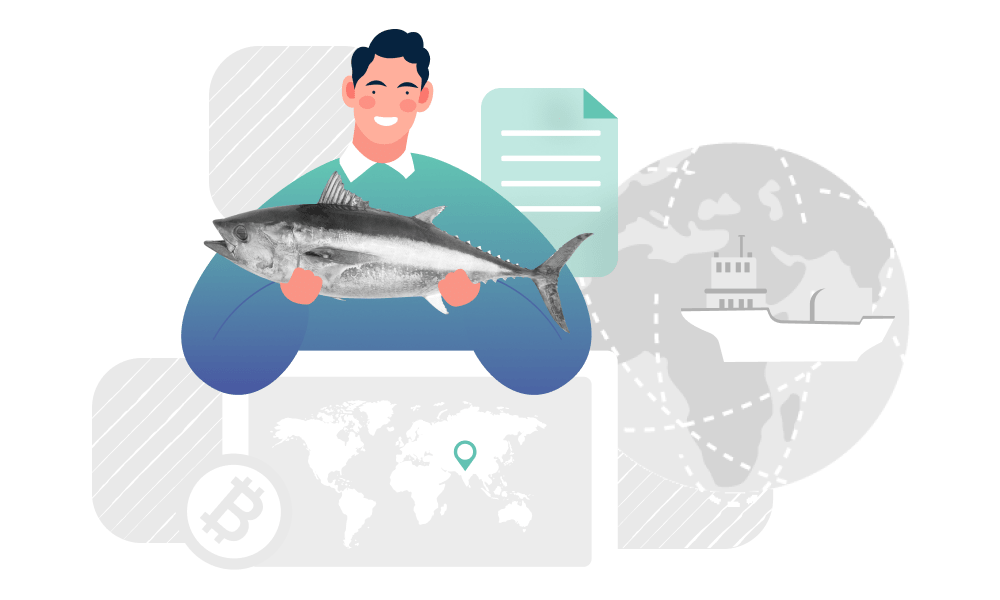 A person holding a fish on transportation routes background