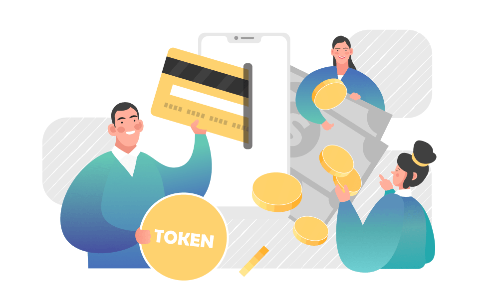 People next to tokens, cash, and a credit card