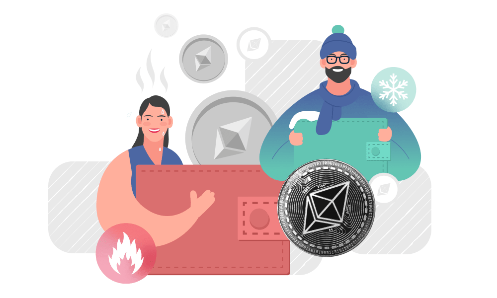 Two people demonstrating hot and cold wallets next to Ethereum token