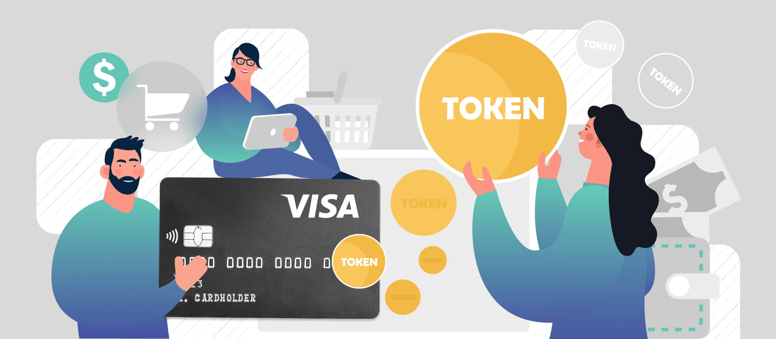 People holding a visa credit card next to tokens and eCommerce icons