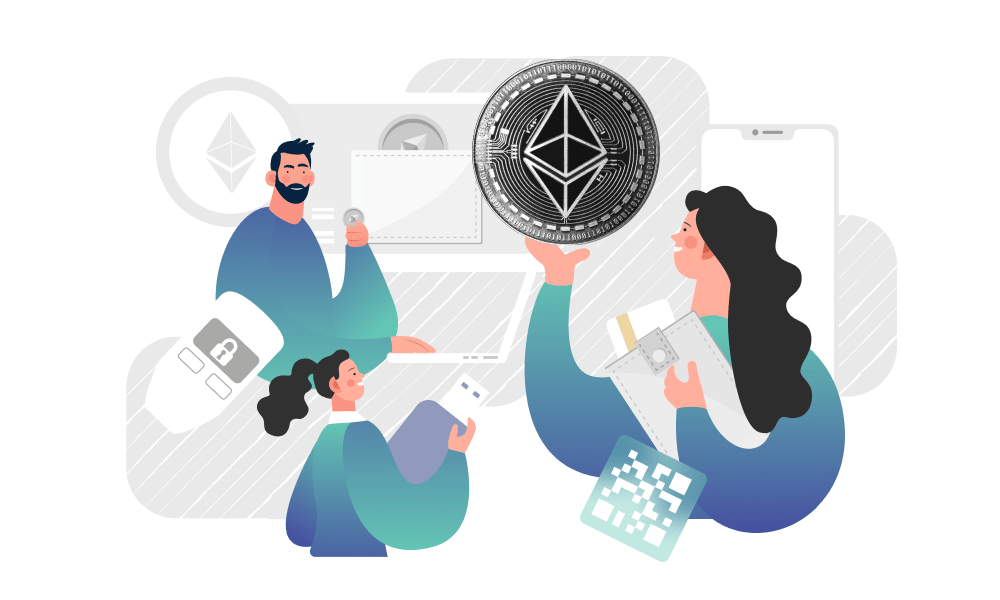 People holding tokens in search for Ethereum wallet