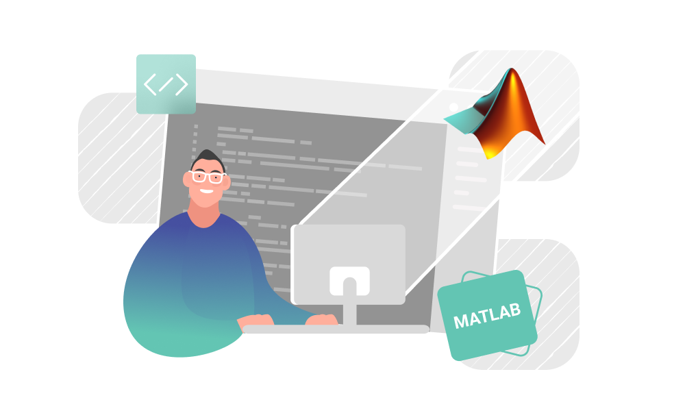 A person operating with MATLAB programming language