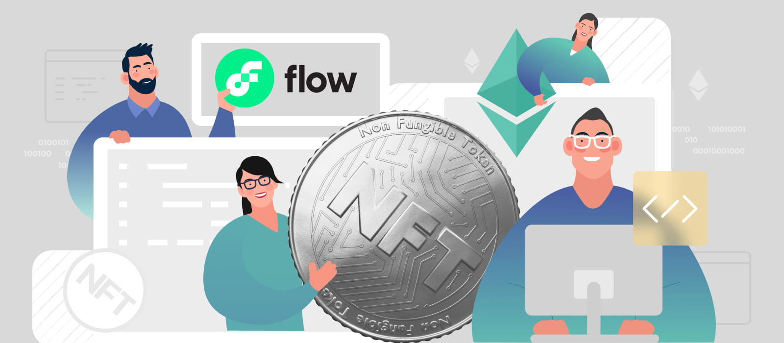 People observing Flow and Ethereum platforms next to the NFT coin