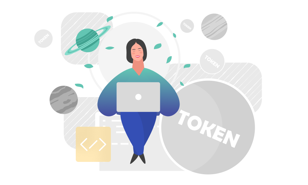 A person surrounded by tokens and planets working on a laptop