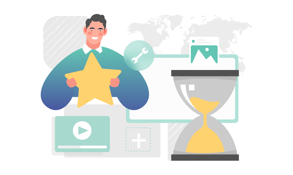 A person holding a rating star next to an hourglass