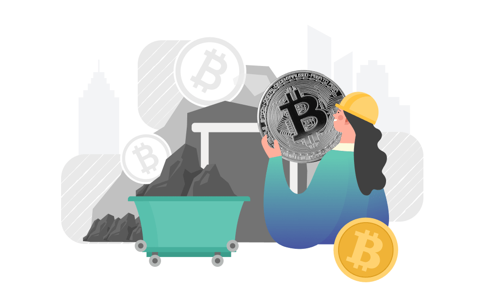 A person in a mine stacking Bitcoin to a minecart