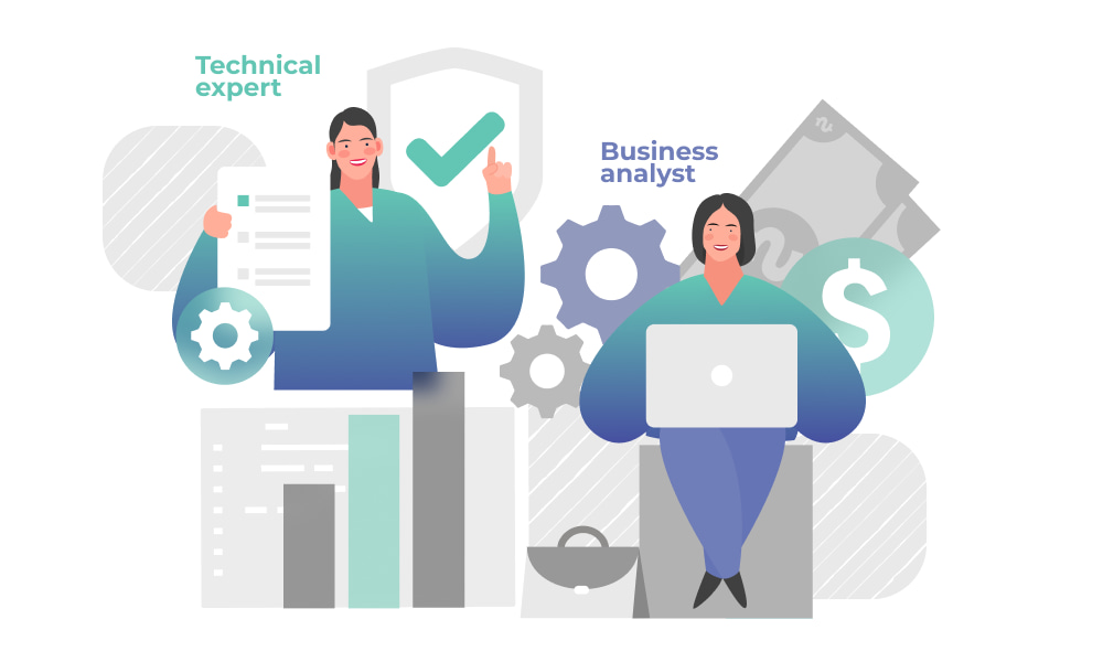 The communication of a technical expert and business analyst within a project