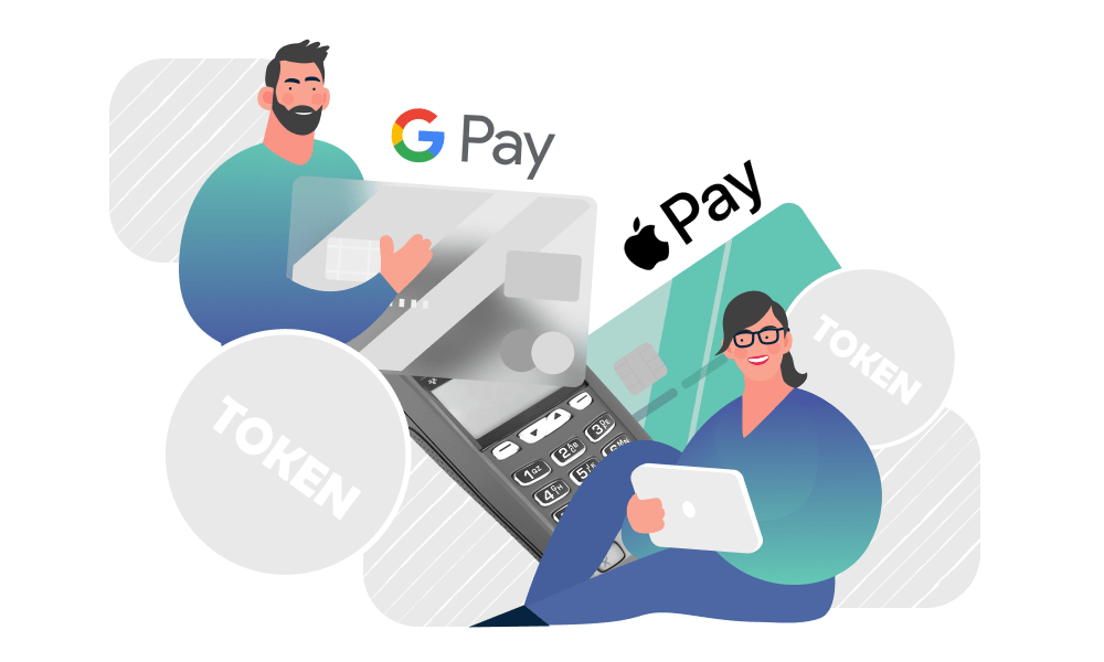 People holding a credit card next to logos of popular payment services
