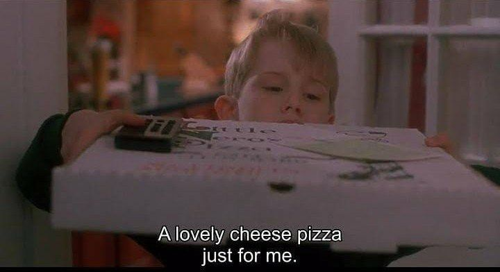 Kevin from Home alone picking up pizza delivery