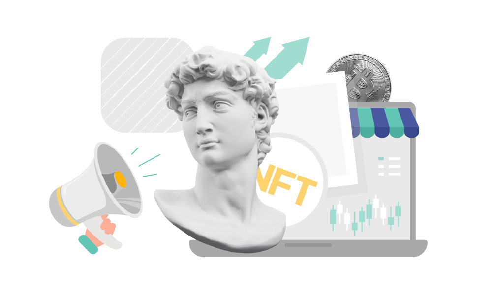 The tokenized items and the marketplace to buy and sell NFTs