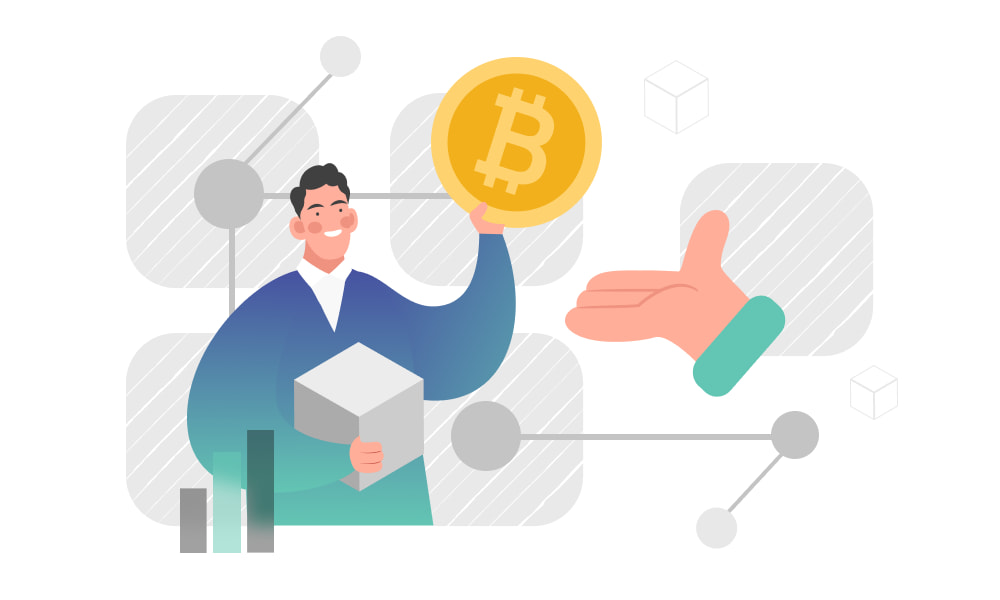 A person holding a token and a block on network background