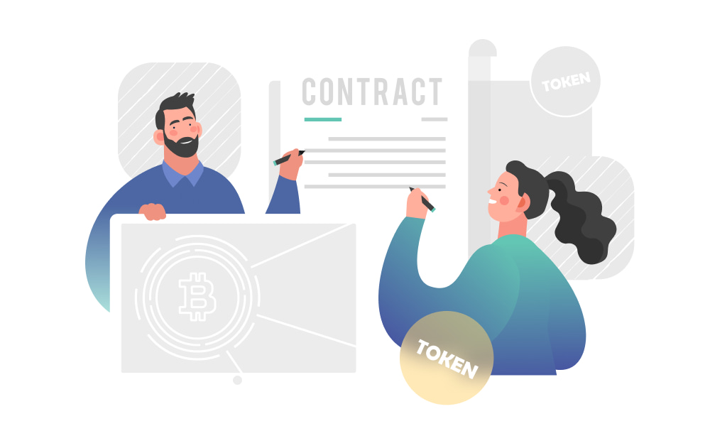 Two people signing a contract next to tokens
