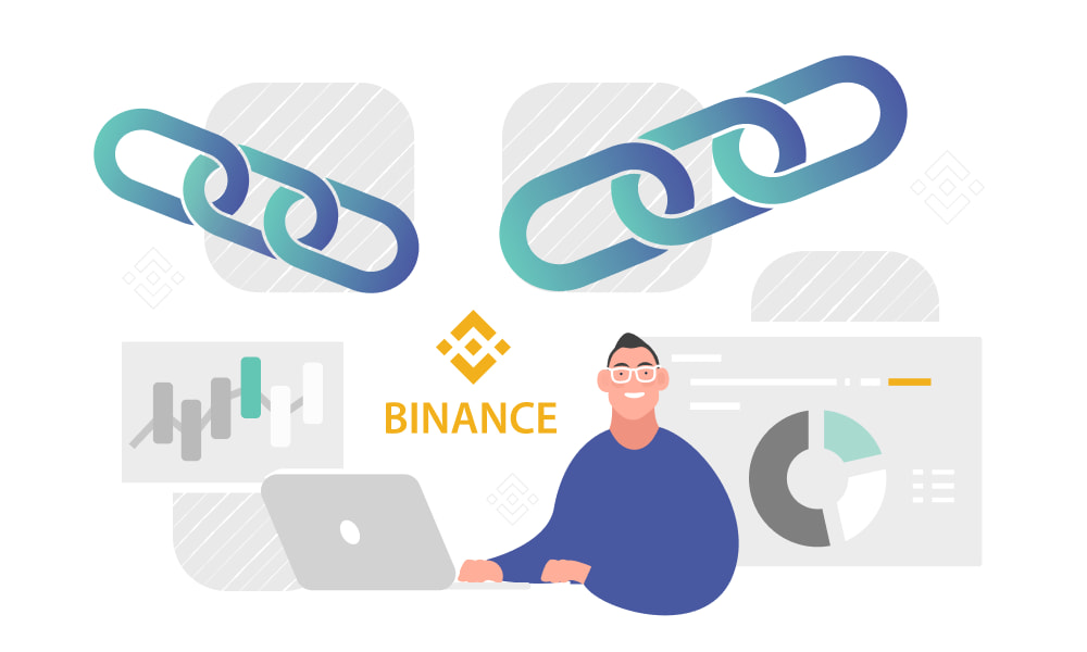 A person operating a laptop next to chains and the Binance logo