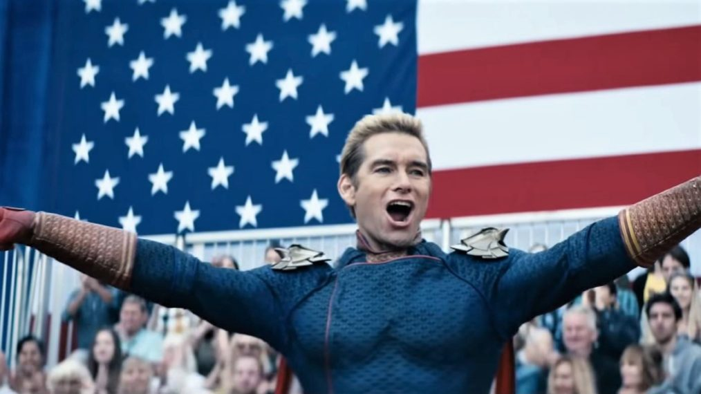 The Homelander from The Boys on the American flag background