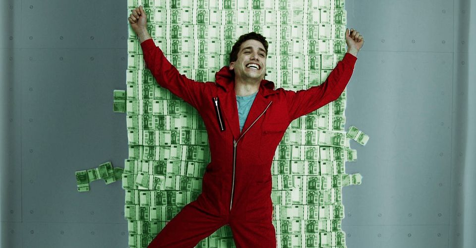 A person from Money Heist lying on a pile of money