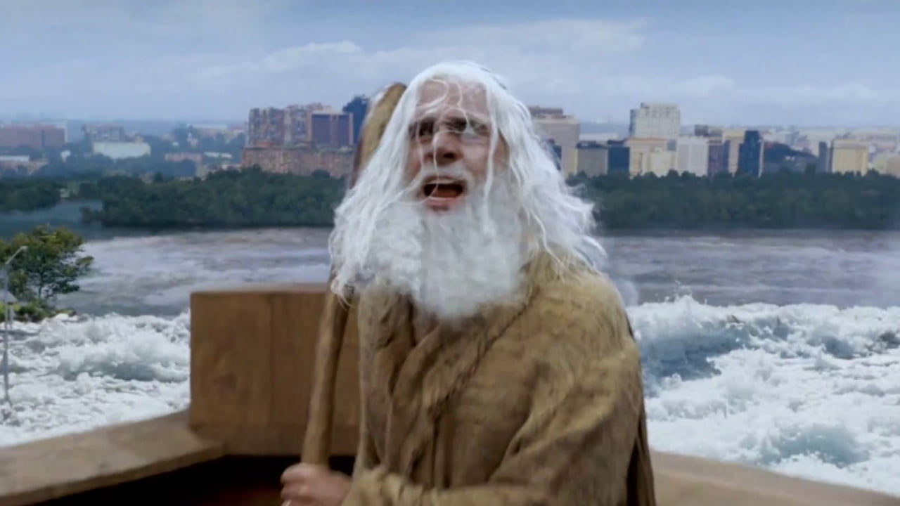 Evan Almighty on city background