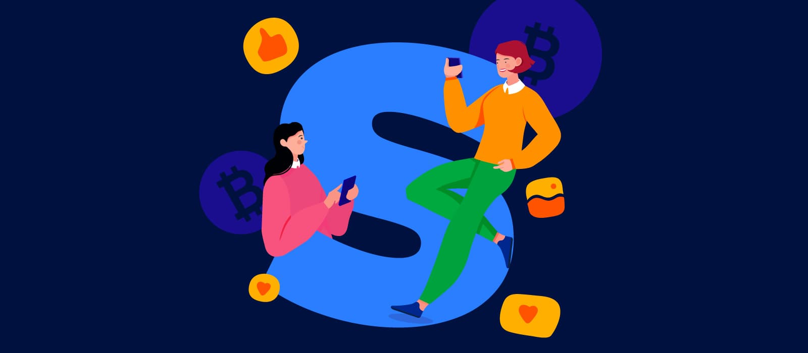Two women leaning on a large letter 'S' surrounded with Bitcoin and social media icons