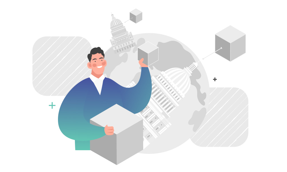 A person constructing a blockchain network on government buildings background