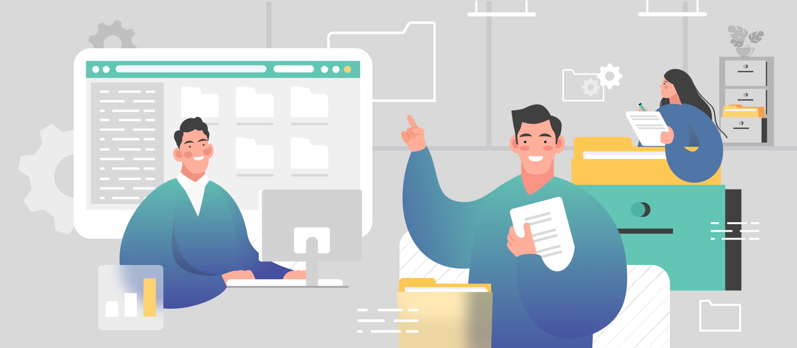 People optimizing document management workflow by utilizing digital tools