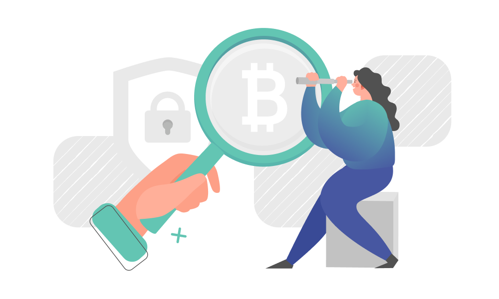A person examining blockchain with a magnifier