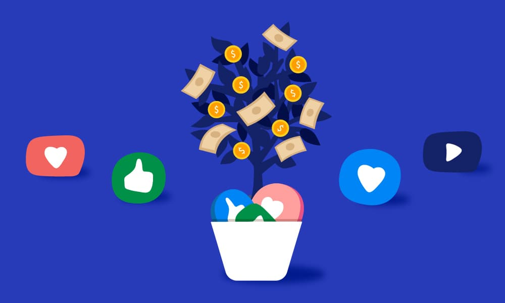 A money tree filled with coins and cash is being fertilized with social media icons