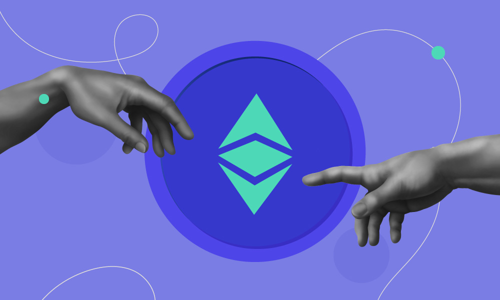 Two hands pointing to an Ethereum logo