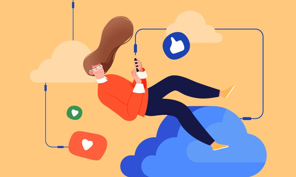 A woman floating in the clouds using her phone to access social media interconnected with cords