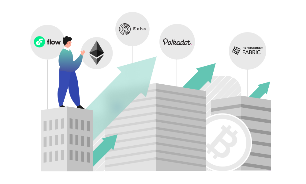 A person standing on the building and observing the growth of major blockchain platforms