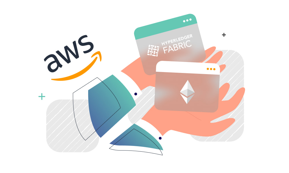 Hands holding Hyperledger Fabric and Ethereum based platforms next to the AWS logo