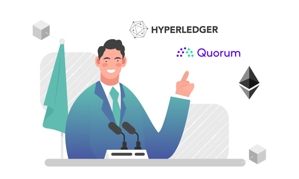 A person pointing at Hyperledger and Quorum logos