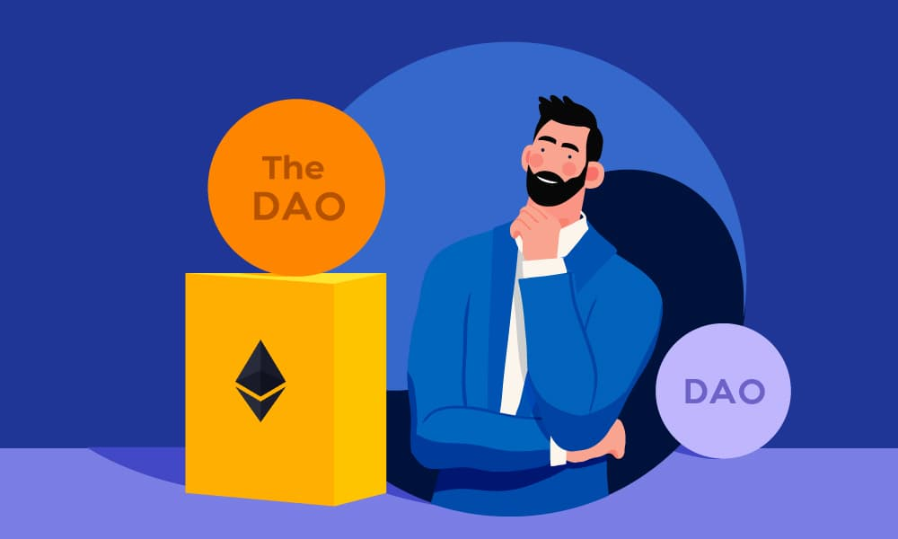 A person looking at The DAO artifact placed on an Ethereum package