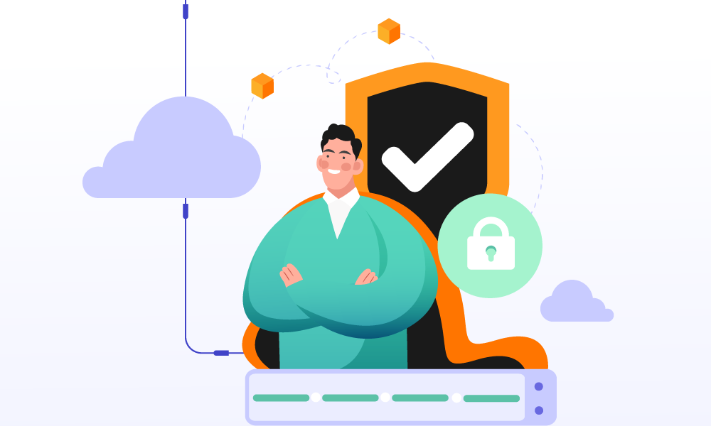 A person and a shield securing cloud storage