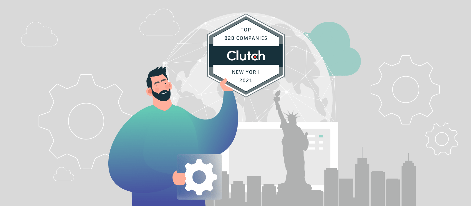 A person holding Clutch Top B2B Companies badge on New York background