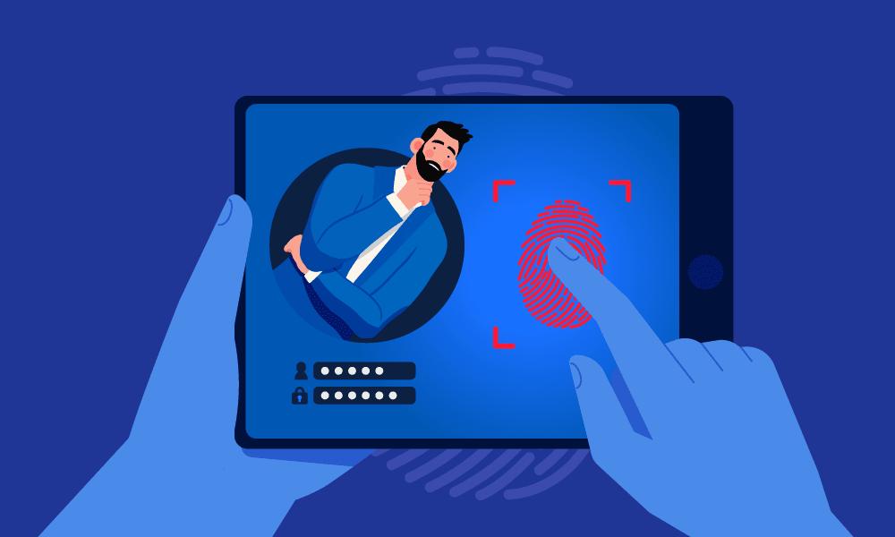 A person accessing a profile using fingerprints