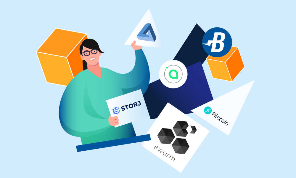 A person holding icons of major cloud storage platforms and companies