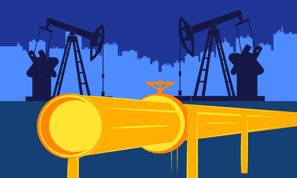 A golden pipe going through pumpjacks