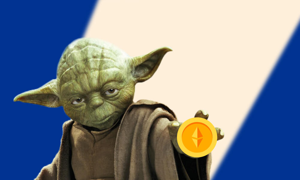 Yoda character from Star Wars movies holding up an Ethereum coin