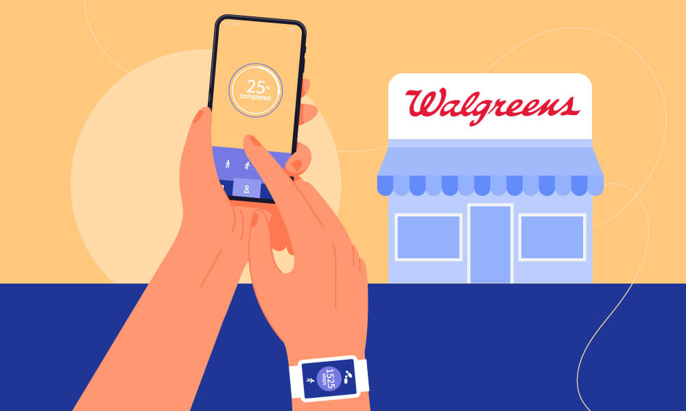 Hands holding a smart phone and wearing a smart watch with an eCommerce app launched, a Walgreens store in the background
