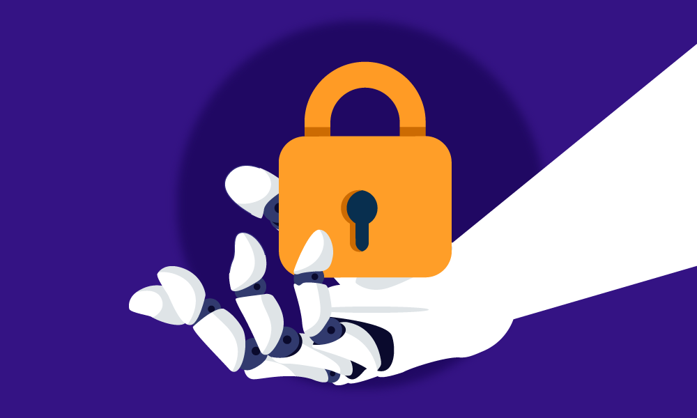 An android hand carrying an orange lock