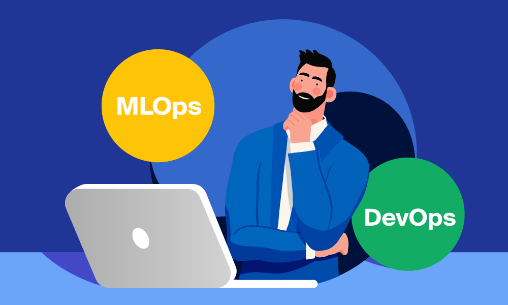 A person working on a laptop next to MLOps and DevOps signs