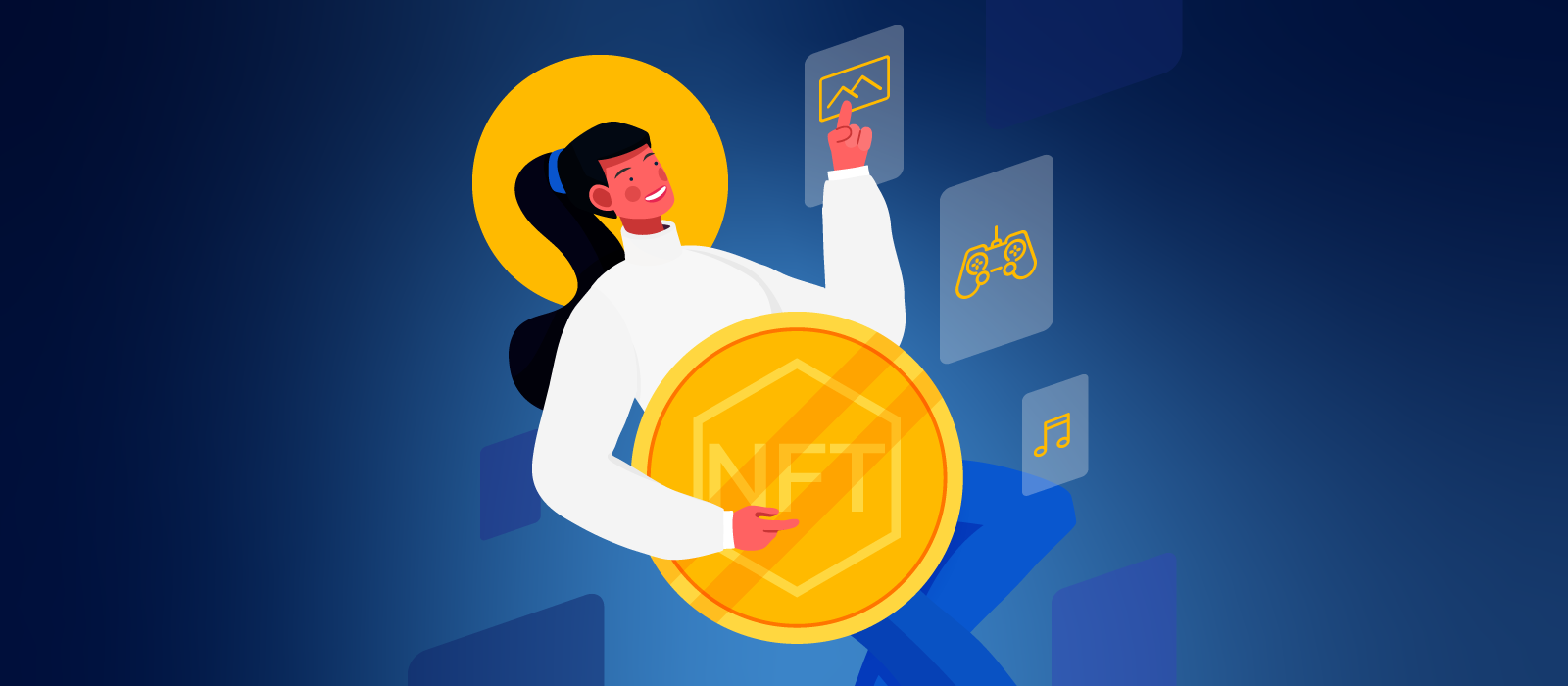 A person holding an NFT