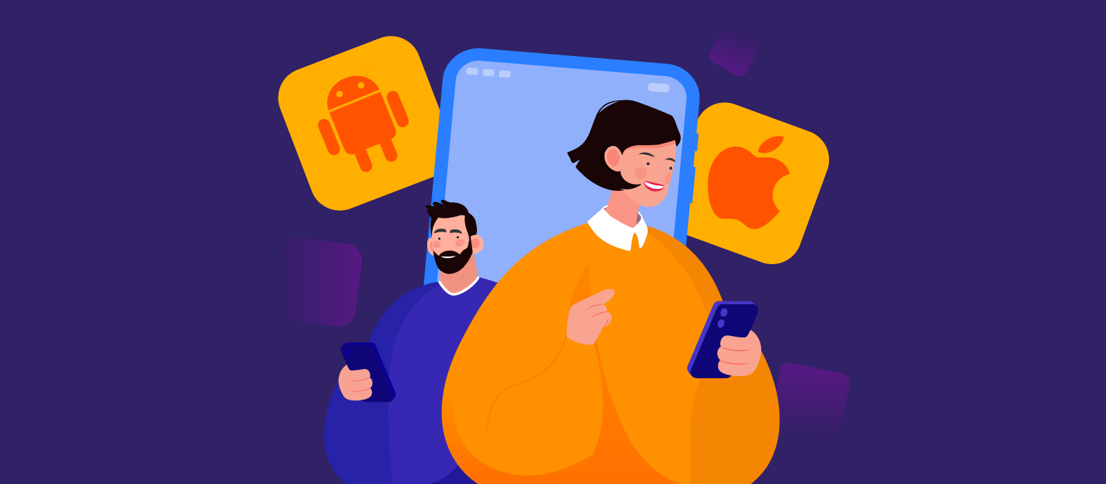 Two people using Android and iOS platforms