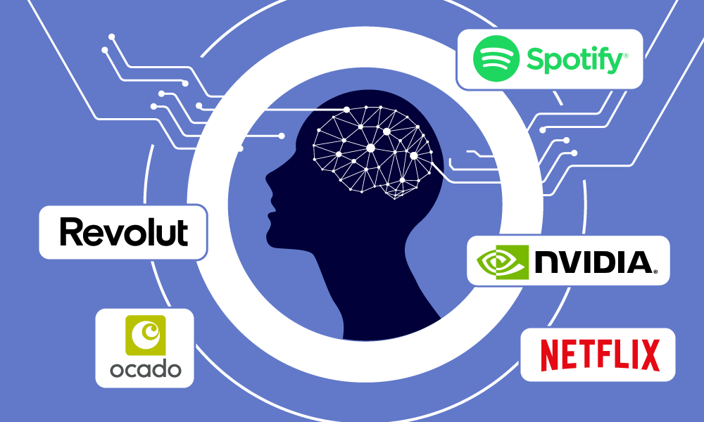 A human surrounded by MLOps major implementation companies logos