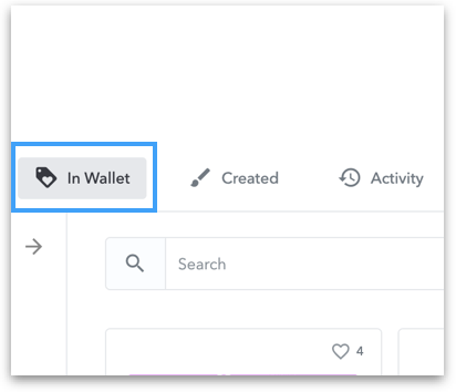 The UI of Wallet tab on OpenSea website
